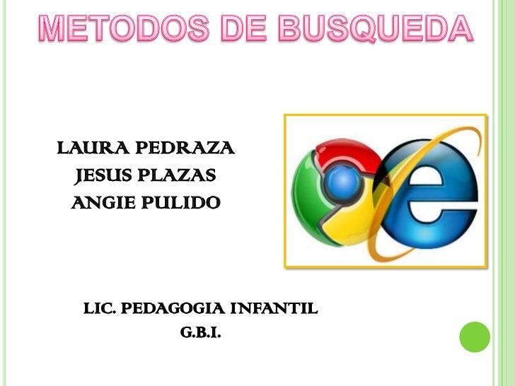 LAURA PEDRAZA  JESUS PLAZAS ANGIE PULIDO  LIC. PEDAGOGIA INFANTIL            G.B.I.