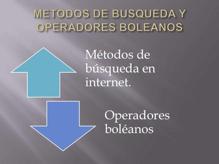 Metodos de busqueda y operadores boleanos Slide 2