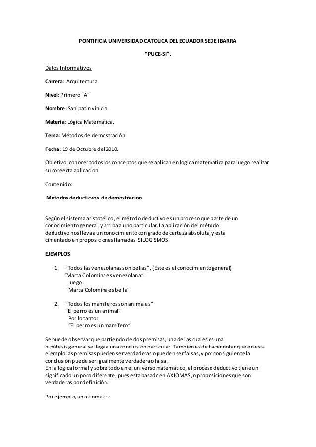 """PONTIFICIA UNIVERSIDAD CATOLICA DEL ECUADOR SEDE IBARRA """"PUCE-SI"""". Datos Informativos Carrera: Arquitectura. Nivel:Primero..."""