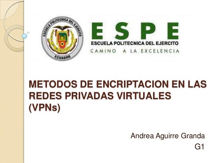 METODOS DE ENCRIPTACION EN LAS REDES PRIVADAS VIRTUALES(VPNs)<br />Andrea Aguirre Granda<br />G1<br />