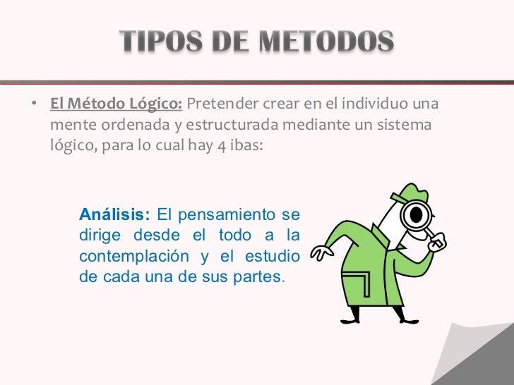 <ul><li>El Método Lógico: Pretender crear en el individuo una mente ordenada y estructurada mediante un sistema lógico, p...