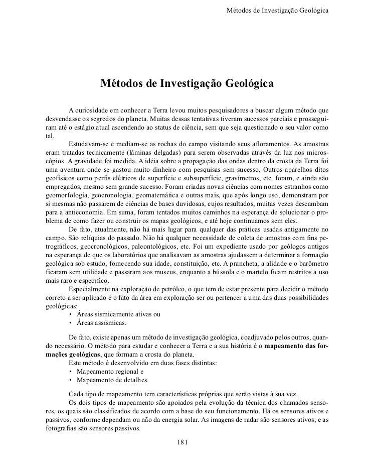 Métodos de Investigação Geoló                   Métodos de Investigação Geológica       A curiosidade em conhecer a T...