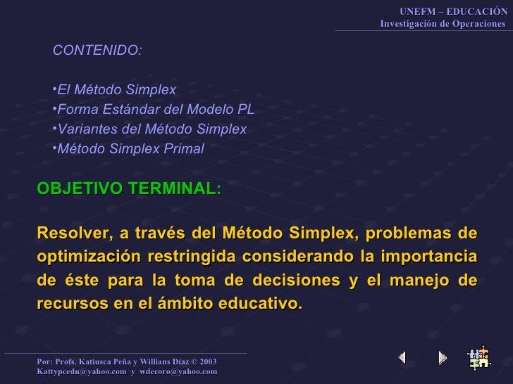 <ul><li>CONTENIDO: </li></ul><ul><li>El Método  Simplex </li></ul><ul><li>Forma Estándar del Modelo PL </li></ul><ul><li>V...