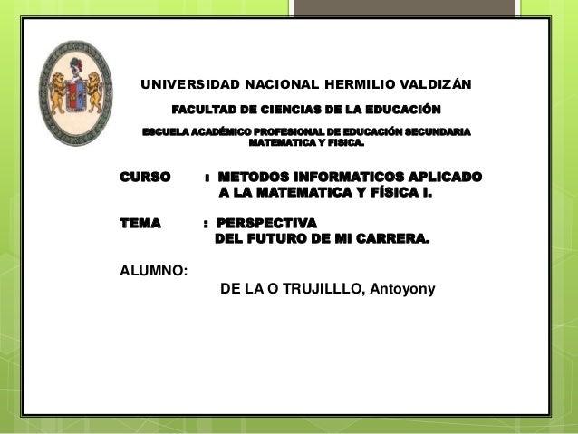 UNIVERSIDAD NACIONAL HERMILIO VALDIZÁN FACULTAD DE CIENCIAS DE LA EDUCACIÓN ESCUELA ACADÉMICO PROFESIONAL DE EDUCACIÓN SEC...