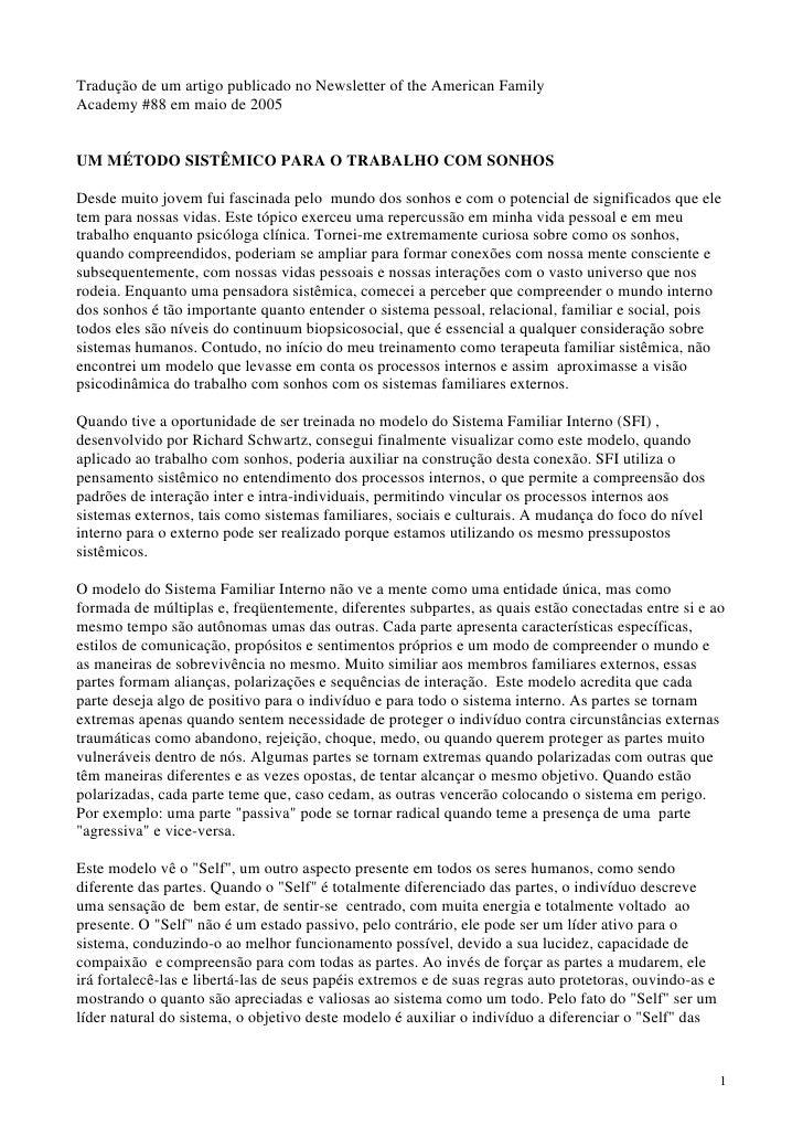 Tradução de um artigo publicado no Newsletter of the American Family Academy #88 em maio de 2005   UM MÉTODO SISTÊMICO PAR...