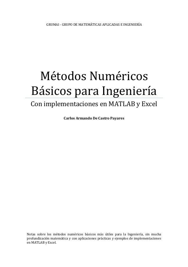 GRUMAI - GRUPO DE MATEMÁTICAS APLICADAS E INGENIERÍA   Métodos Numéricos  Básicos para Ingeniería  Con implementaciones en...