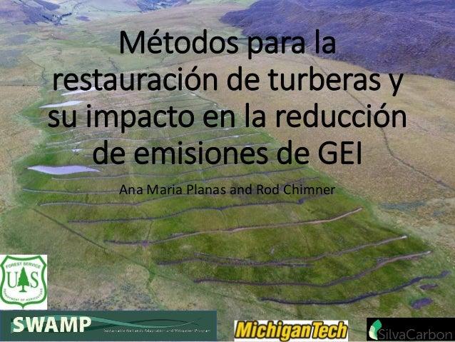 Métodos para la restauración de turberas y su impacto en la reducción de emisiones de GEI Ana Maria Planas and Rod Chimner