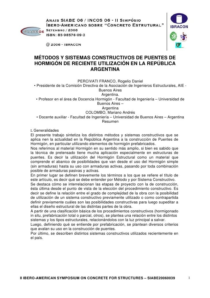 MÉTODOS Y SISTEMAS CONSTRUCTIVOS DE PUENTES DE       HORMIGÓN DE RECIENTE UTILIZACIÓN EN LA REPÚBLICA                     ...