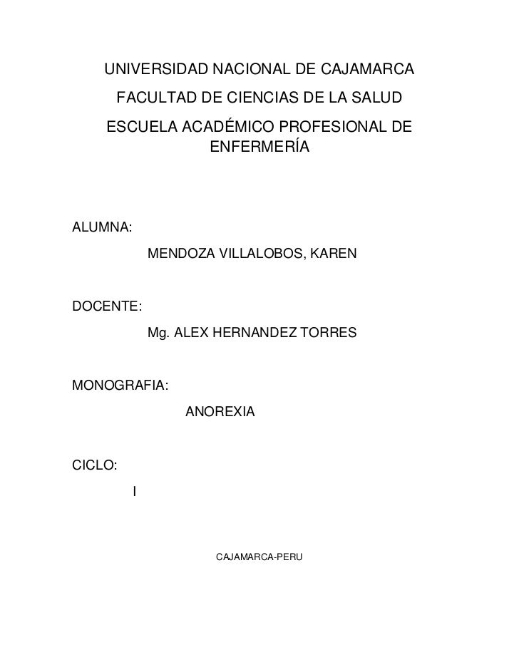 UNIVERSIDAD NACIONAL DE CAJAMARCA<br />FACULTAD DE CIENCIAS DE LA SALUD<br />ESCUELA ACADÉMICO PROFESIONAL DE ENFERMERÍA<b...