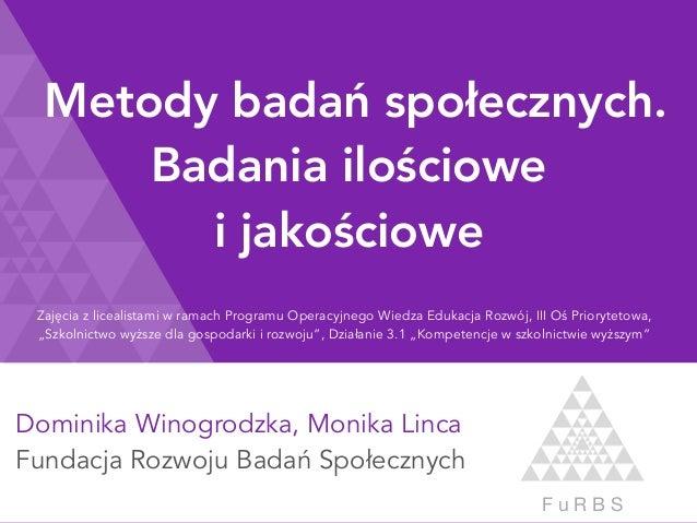 Dominika Winogrodzka, Monika Linca Fundacja Rozwoju Badań Społecznych F u R B S Metody badań społecznych. Badania ilościow...