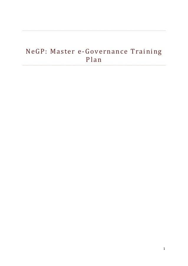 NeGP: Master e-Governance Training Plan  1