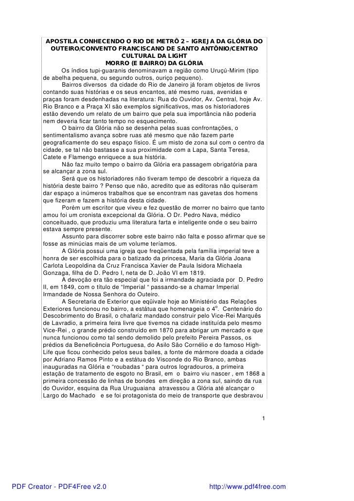APOSTILA CONHECENDO O RIO DE METRÔ 2 – IGREJA DA GLÓRIA DO            OUTEIRO/CONVENTO FRANCISCANO DE SANTO ANTÔNIO/CENTRO...