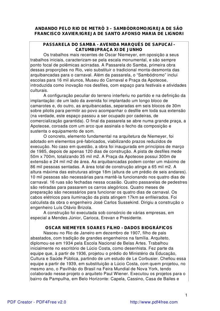 ANDANDO PELO RIO DE METRÔ 3 – SAMBÓDROMO/IGREJA DE SÃO            FRANCISCO XAVIER/IGREJA DE SANTO AFONSO MARIA DE LIGNORI...