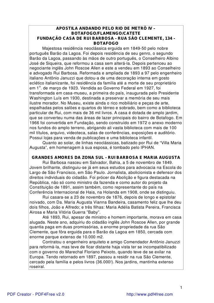 APOSTILA ANDANDO PELO RIO DE METRÔ IV –                                   BOTAFOGO/FLAMENGO/CATETE               FUNDAÇÃO ...