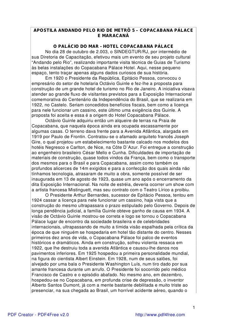 APOSTILA ANDANDO PELO RIO DE METRÔ 5 – COPACABANA PÁLACE                                 E MARACANÃ                      O...