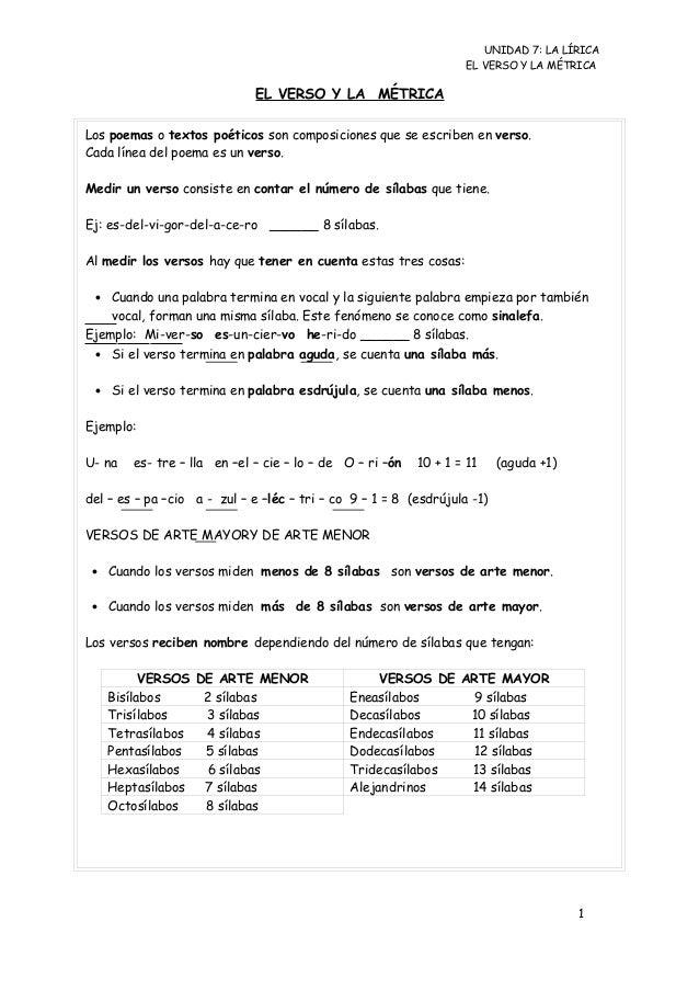 UNIDAD 7: LA LÍRICA                                                                   EL VERSO Y LA MÉTRICA               ...