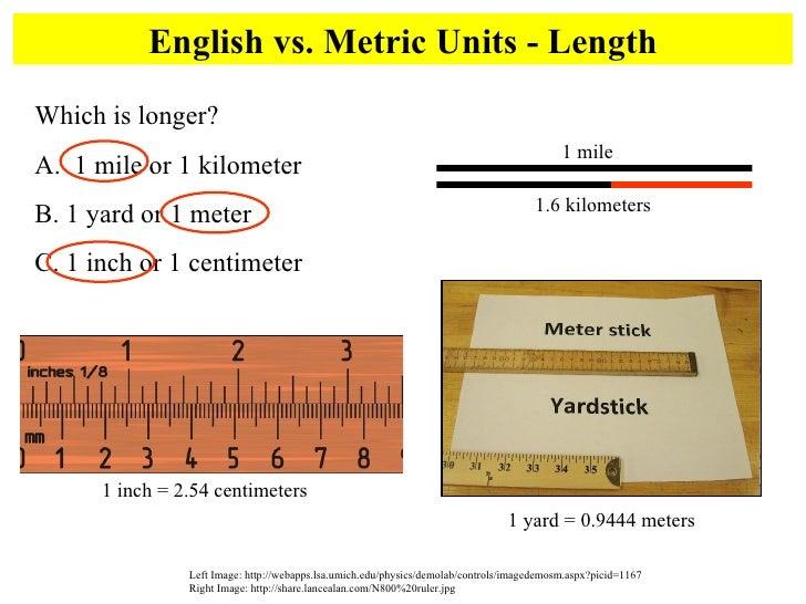 English vs. Metric Units - Length Left Image: http://webapps.lsa.umich.edu/physics/demolab/controls/imagedemosm.aspx?picid...