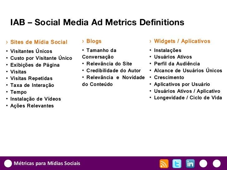 IAB – Social Media Ad Metrics Definitions› Sites de Mídia Social             › Blogs                    › Widgets / Aplica...