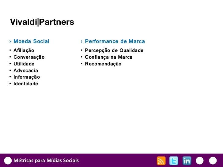 Vivaldi|Partners› Moeda Social                     › Performance de Marca•   Afiliação                      • Percepção de...