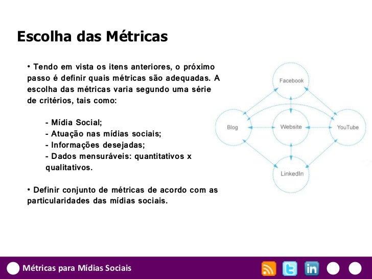 Escolha das Métricas • Tendo em vista os itens anteriores, o próximo passo é definir quais métricas são adequadas. A escol...
