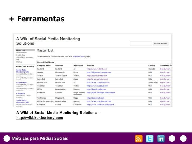 + Ferramentas  A Wiki of Social Media Monitoring Solutions -  http://wiki.kenburbary.comMétricas para Mídias Sociais