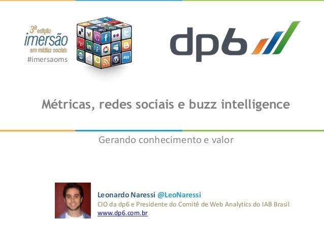 #imersaoms   Métricas, redes sociais e buzz intelligence             Gerando conhecimento e valor             Leonardo Nar...