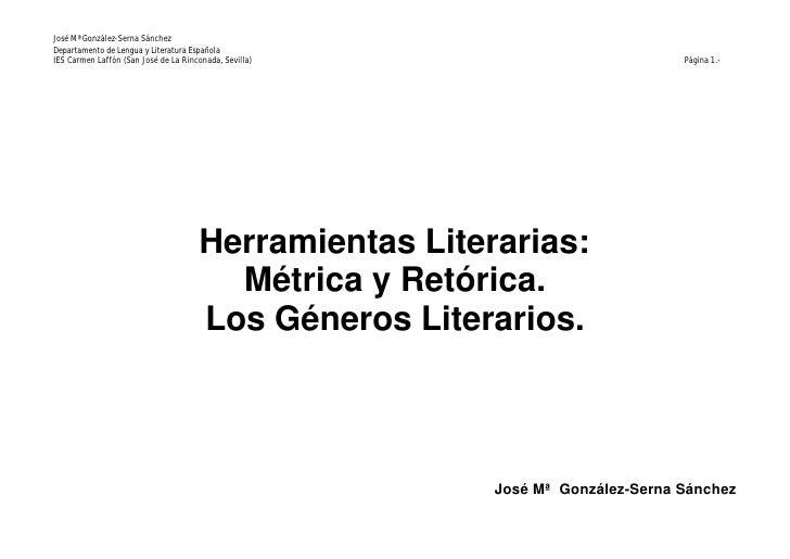 José Mª González-Serna Sánchez Departamento de Lengua y Literatura Española IES Carmen Laffón (San José de La Rinconada, S...