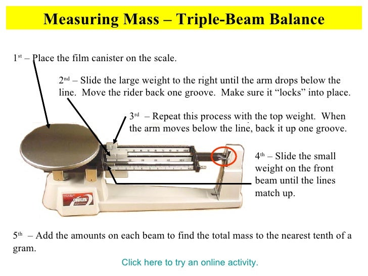 Metric Mass – Triple Beam Balance Worksheet