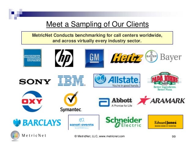 Meet a Sampling of Our Clients MetricNet Conducts benchmarking for call centers worldwide, and across virtually every indu...