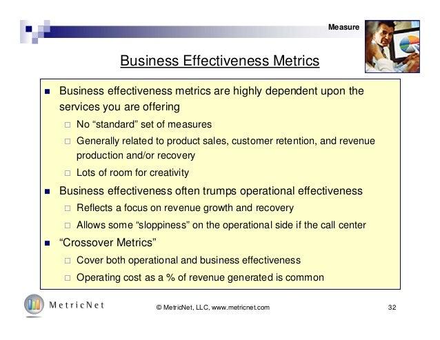 32© MetricNet, LLC, www.metricnet.com Business Effectiveness Metrics  Business effectiveness metrics are highly dependent...