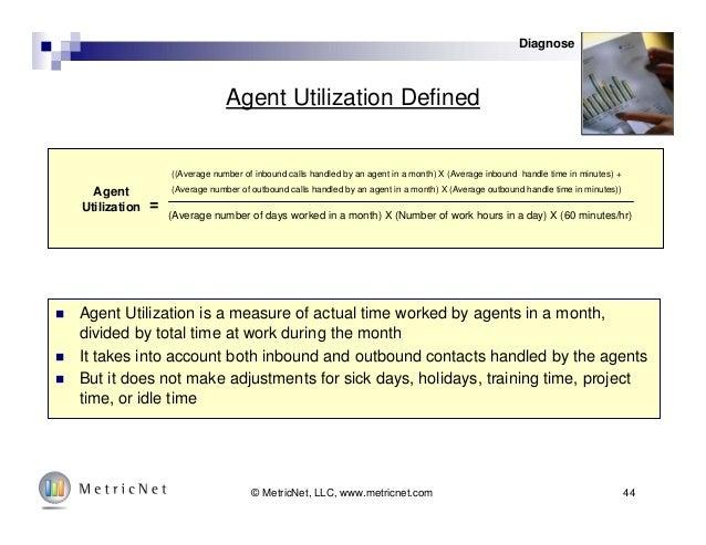 44© MetricNet, LLC, www.metricnet.com Agent Utilization Defined Agent Utilization ((Average number of inbound calls handle...