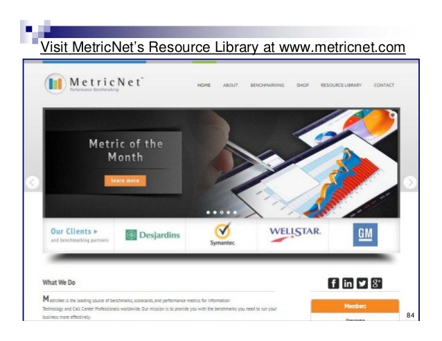 Visit MetricNet's Resource Library at www.metricnet.com © MetricNet, LLC, www.metricnet.com 84 84