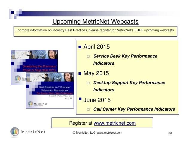 Upcoming MetricNet Webcasts  April 2015  Service Desk Key Performance Indicators  May 2015  Desktop Support Key Perfor...