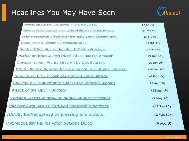 Headlines You May Have Seen                              © 2010 Akamai