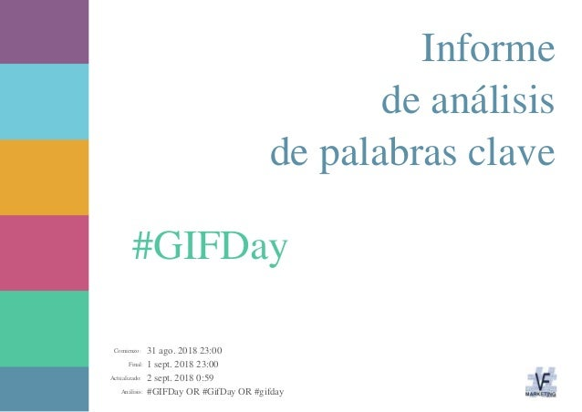 31 ago. 2018 23:00 1 sept. 2018 23:00 2 sept. 2018 0:59 #GIFDay OR #GifDay OR #gifdayAnálisis: Actualizado: Final: Comienz...