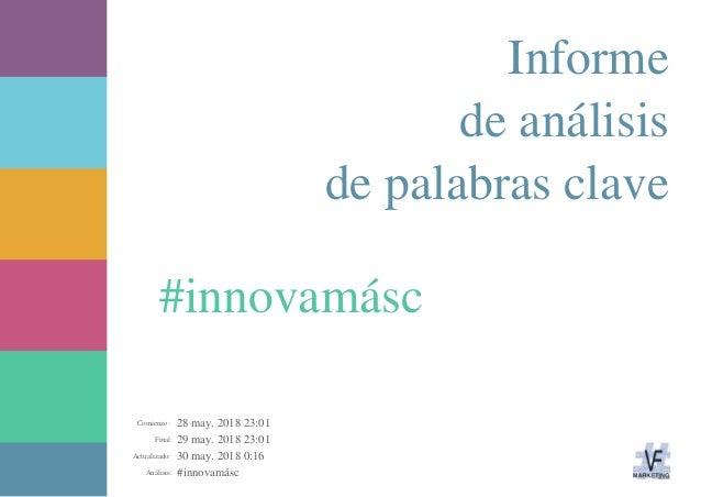 28 may. 2018 23:01 29 may. 2018 23:01 30 may. 2018 0:16 #innovamáscAnálisis: Actualizado: Final: Comienzo: #innovamásc Inf...