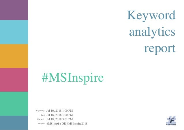 Jul 16, 2018 1:00 PM Jul 18, 2018 1:00 PM Jul 18, 2018 3:01 PM #MSInspire OR #MSInspire2018Analysis: Updated: End: Beginni...