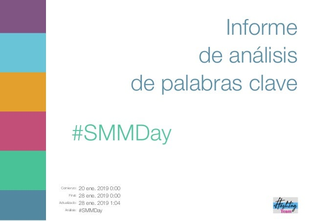 Comienzo: 20 ene. 2019 0:00 Final: 28 ene. 2019 0:00 Actualizado: 28 ene. 2019 1:04 Análisis: #SMMDay Informe de análisis ...