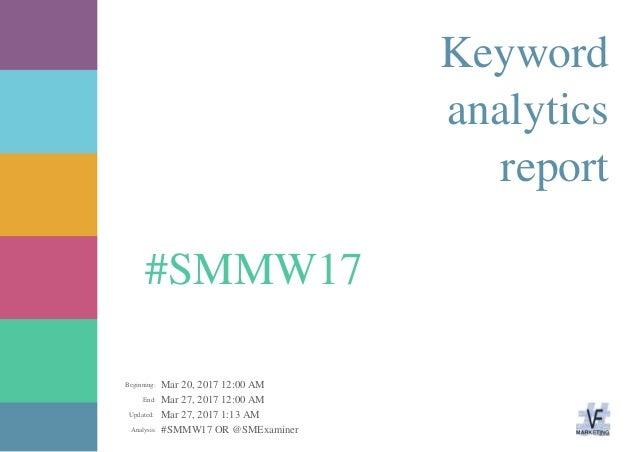 Mar 20, 2017 12:00 AM Mar 27, 2017 12:00 AM Mar 27, 2017 1:13 AM #SMMW17 OR @SMExaminerAnalysis: Updated: End: Beginning: ...
