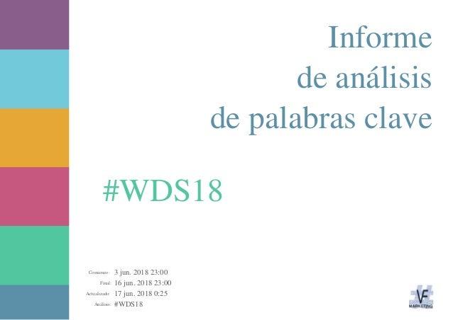 3 jun. 2018 23:00 16 jun. 2018 23:00 17 jun. 2018 0:25 #WDS18Análisis: Actualizado: Final: Comienzo: #WDS18 Informe de aná...