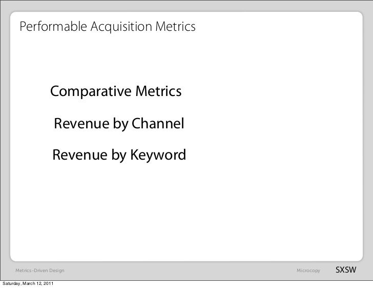 Performable Acquisition Metrics                      Comparative Metrics                           Revenue by Channel     ...