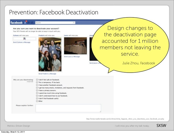 Prevention: Facebook Deactivation                                                      Design changes to                  ...