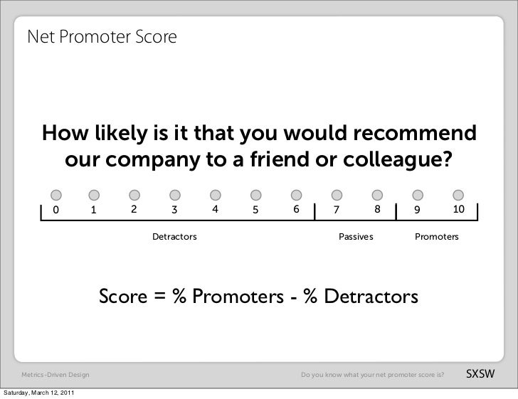 Net Promoter Score            How likely is it that you would recommend              our company to a friend or colleague?...