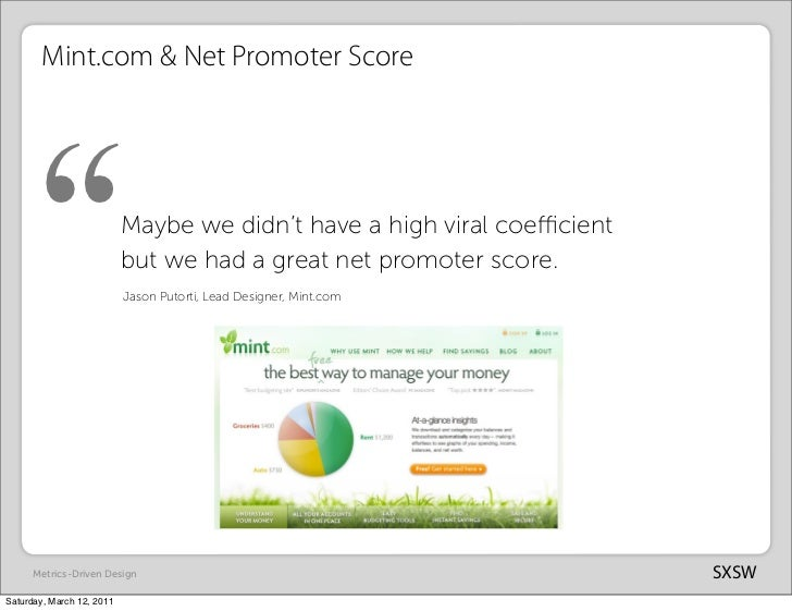 """Mint.com & Net Promoter Score      """"                    Maybe we didn't have a high viral coefficient                       ..."""
