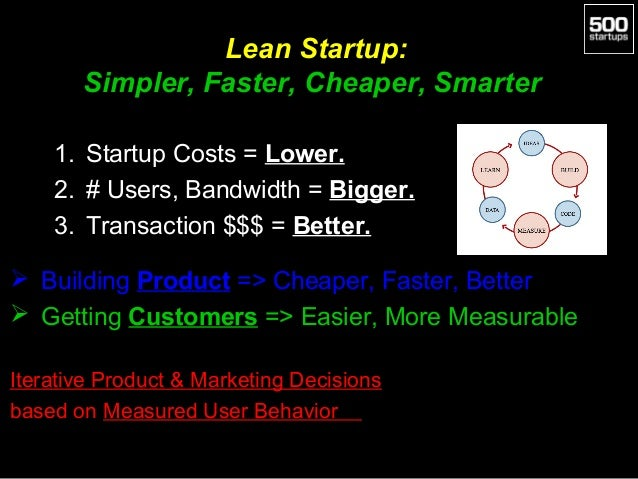 Lean Startup: Simpler, Faster, Cheaper, Smarter 1. Startup Costs = Lower. 2. # Users, Bandwidth = Bigger. 3. Transaction $...