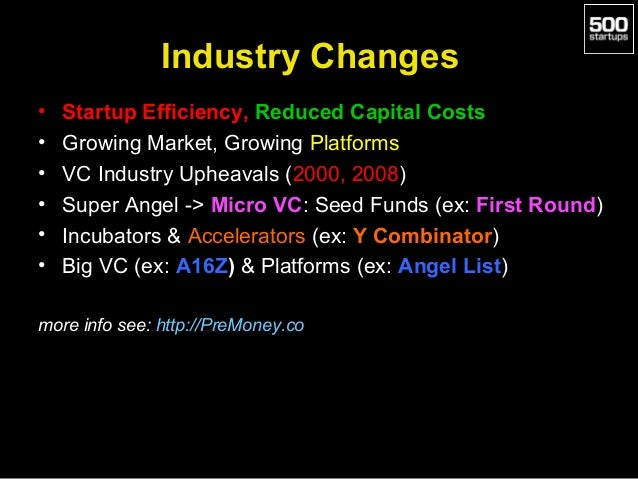 Industry Changes • • • • • •  Startup Efficiency, Reduced Capital Costs Growing Market, Growing Platforms VC Industry Uphe...