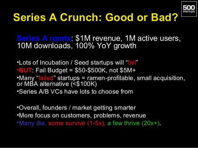Series A Crunch: Good or Bad? Series A rqmts: $1M revenue, 1M active users, 10M downloads, 100% YoY growth •Lots of Incuba...