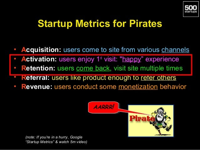 Startup Metrics for Pirates • • • • •  Acquisition: users come to site from various channels Activation: users enjoy 1st v...