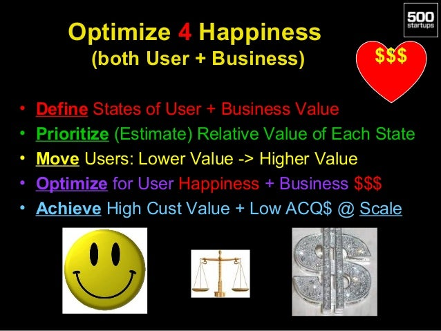 Optimize 4 Happiness (both User + Business) • • • • •  $$$  Define States of User + Business Value Prioritize (Estimate) R...