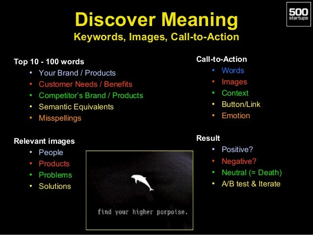 Discover Meaning Keywords, Images, Call-to-Action Top 10 - 100 words • Your Brand / Products • Customer Needs / Benefits •...